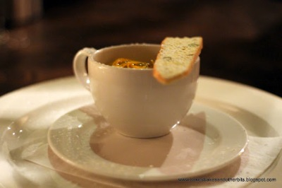 Carrageen Moss Panna Cotta, Rhubarb Compote & Pistachio Biscotti