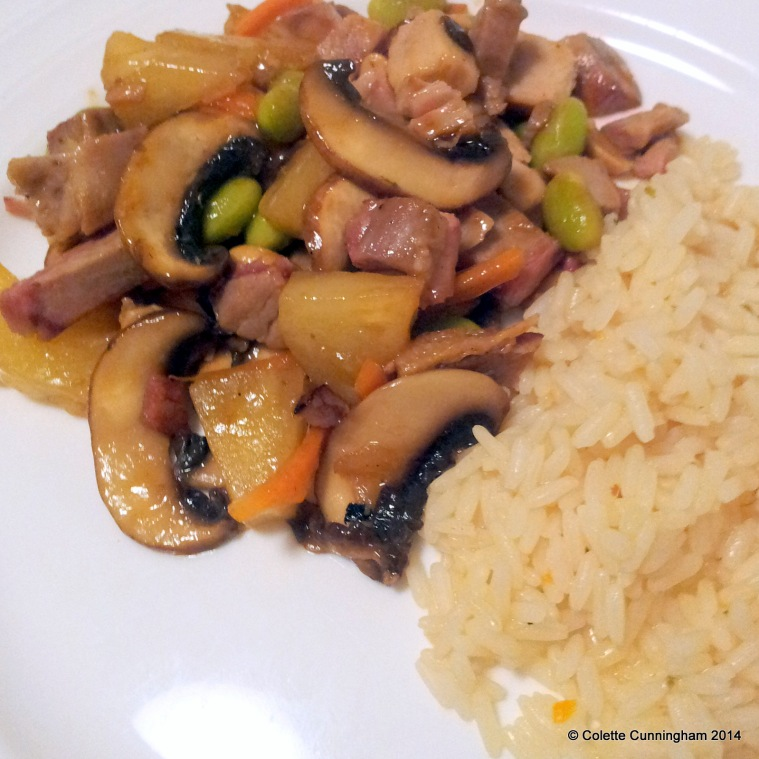 Pork & Pineapple Stir Fry, with boiled rice