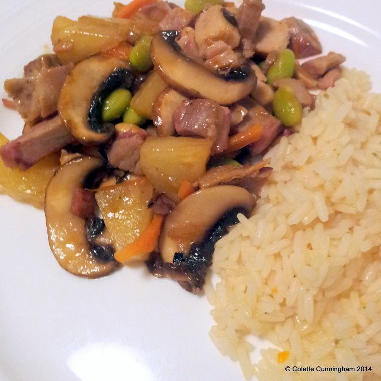 Pork & Pineapple Stir Fry, with boiled rice